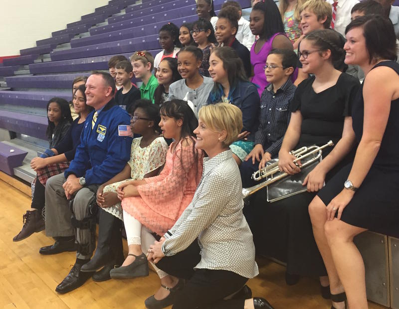 "Barry ""Butch"" Wilmore takes photos with students at Oliver Middle School on his statewide tour with the governor."