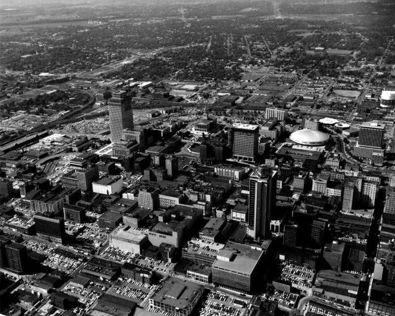 An aerial photo of downtown Nashville taken in 1969. The left side of the photo shows land cleared for Interstate 40.