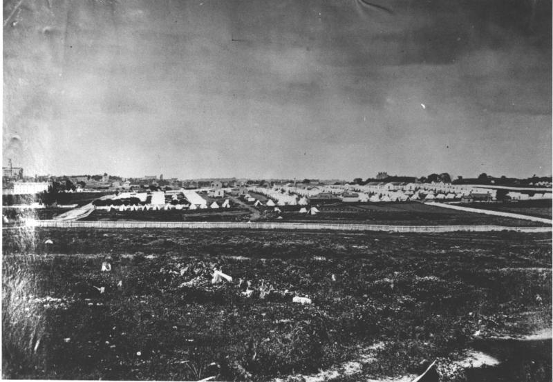 A unidentified Union encampment in North Nashville. A camp like this one eventually became the site of Fisk University.