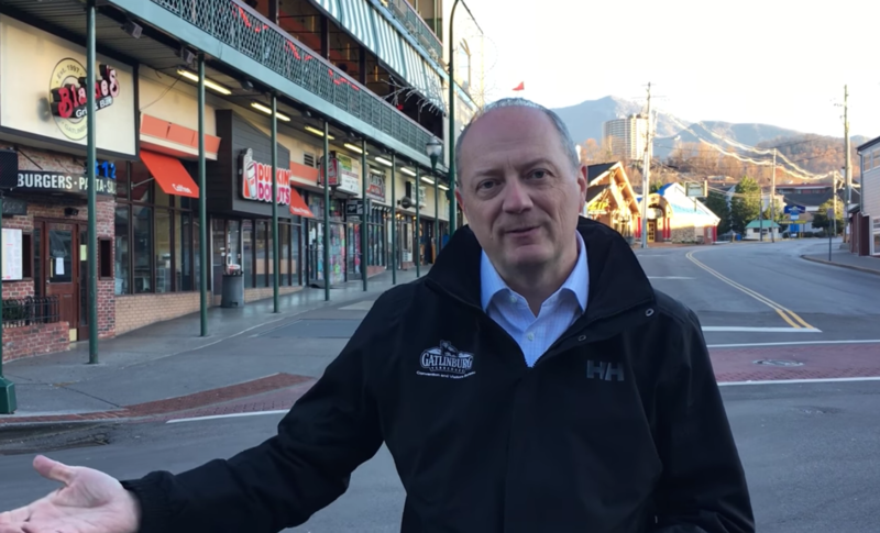Gatlinburg's tourism chief, Mark Adams, shows off downtown Gatlinburg in a video released Dec. 2. The city's mayor put out a similar promotional video this week.