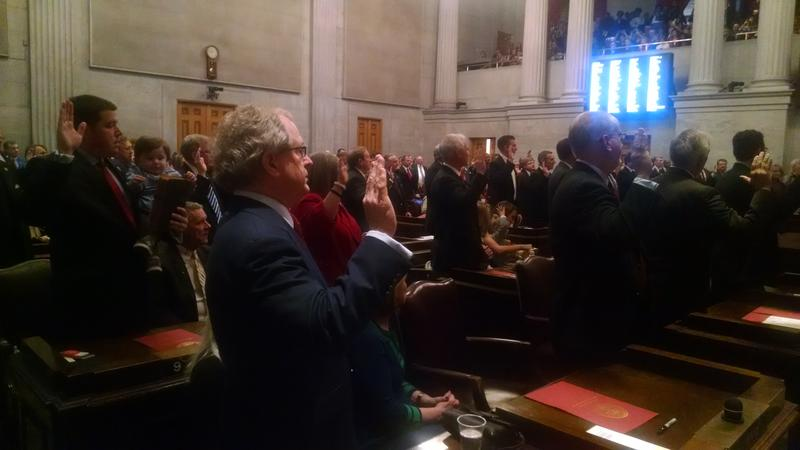 House lawmakers are sworn in to start the first meeting of the 110th General Assembly.