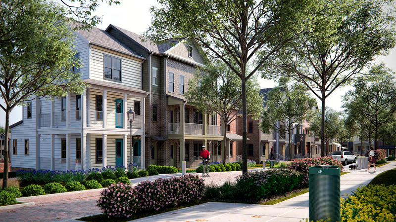 A rendering of the new Kirkpatrick Park mixed income development in the Cayce Homes shows a colorful mix of townhome structures where no two are alike.