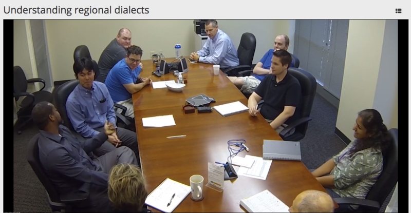 One Apto module teaches users how to pick out regional dialects during a work meeting.