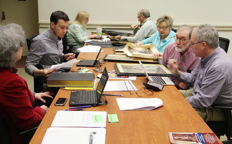 State archivists met with people bringing in World War I items.