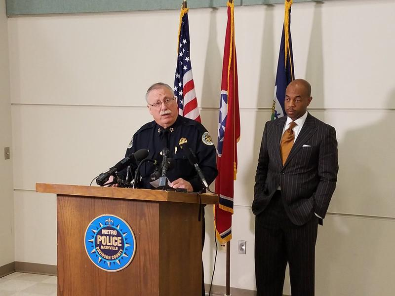 Police Chief Steve Anderson speaks to reporters after a police-involved shooting in February.