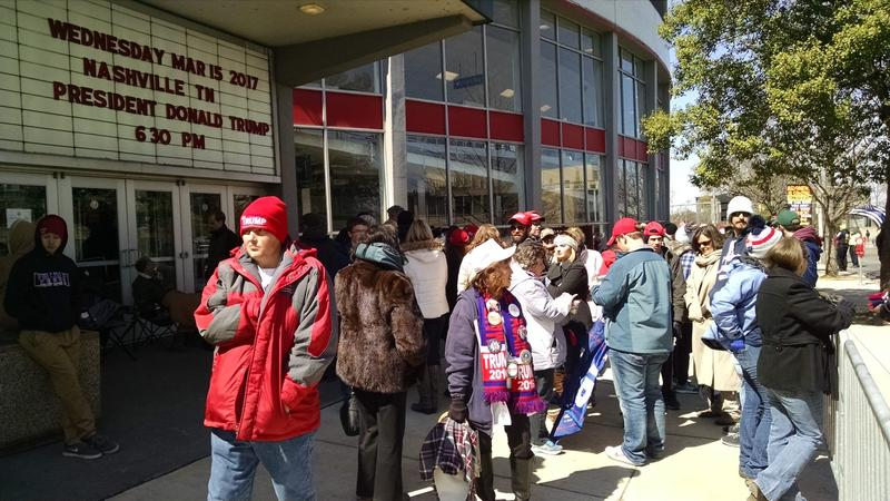 Trump supporters begin to line up outside Municipal Auditorium on Wednesday afternoon. Some arrived as early as 6 a.m.