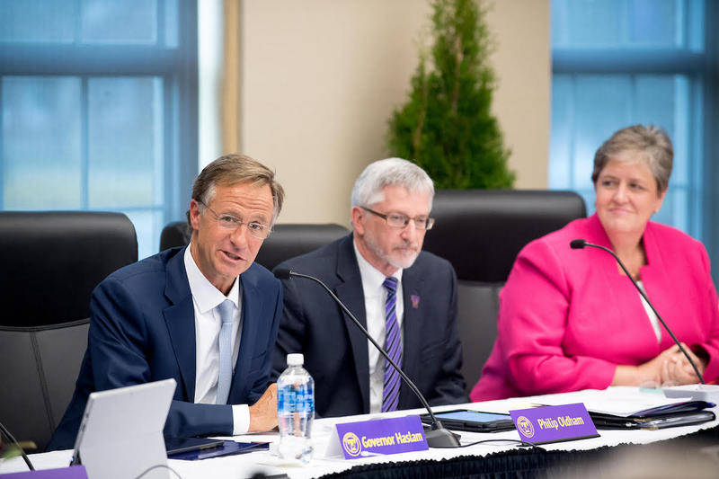 Gov. Bill Haslam, left, addresses the new Tennessee Tech Board of Trustees in Cookeville.
