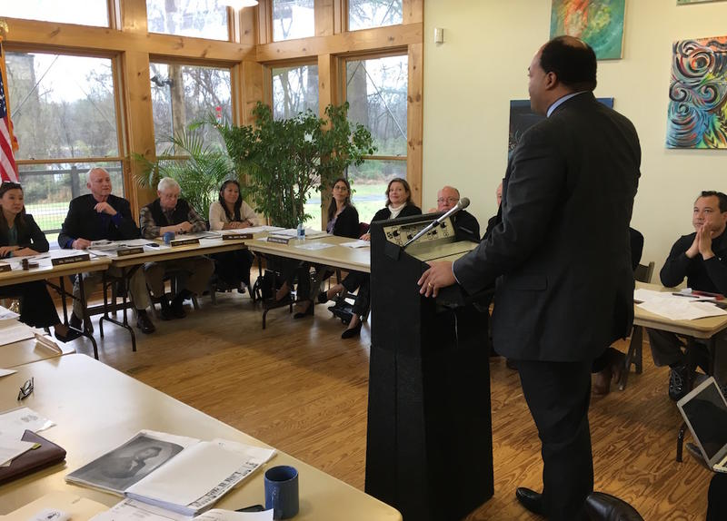 Lawyer and historian David Ewing addresses the Metro Parks board on Tuesday. He is responsible for much of the research used to justify the spelling clarification.