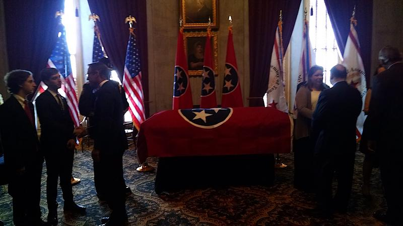 Mourners pass the casket of former state Sen. Douglas Henry.