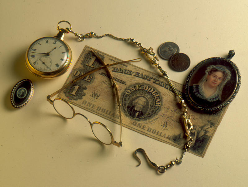A collection of personal items from President Andrew Jackson — but the candle is not pictured.