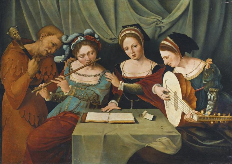 Three Young Women Making Music With A Jester, c. 1530