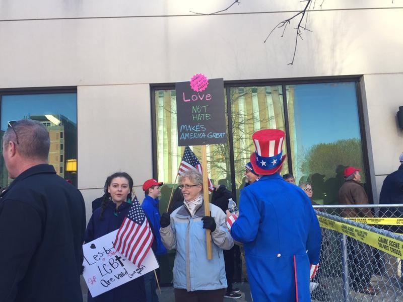 Some protestors outside Municipal Auditorium