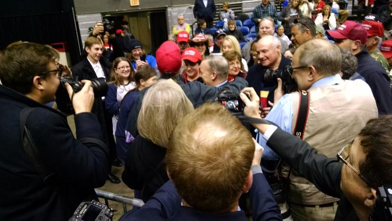Sean Spicer getting mobbed by fans. (And the traveling press getting a kick out of his fan club.)