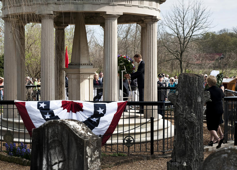 Gov. Bill Haslam lays a wreath at President Andrew Jackson's tomb on his birthday in 2012.