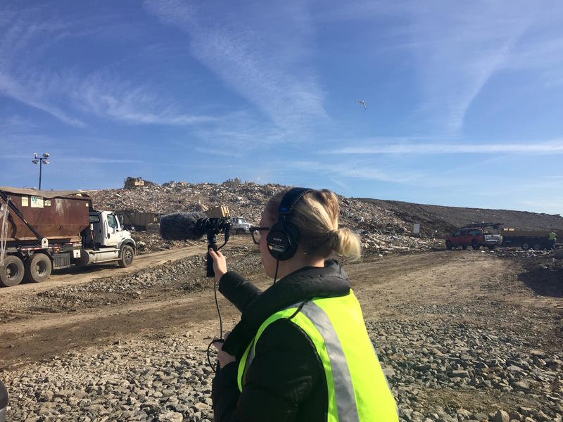 Reporter Meribah Knight gets some sound of dump trucks unloading at the Waste Management Landfill. The same landfill where 1807 Sherwood Lane ended up.