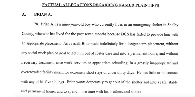 Brian A Tennessee foster care