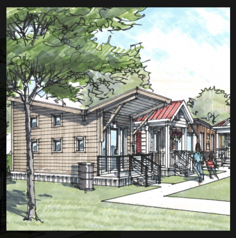 A rendering of the micro homes planned for the Woodbine neighborhood.