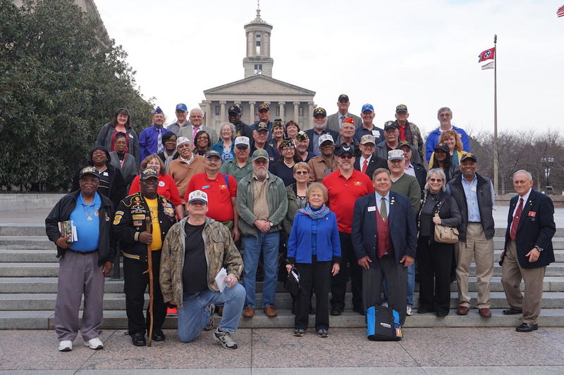 "Veterans gathered for a lobbying day at the Capitol in February, the second annual ""Veterans Day on the Hill."""