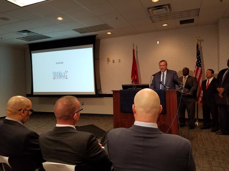 Nashville District Attorney Glenn Funk presents his conclusions after a TBI inquiry into the shooting of Jocques Clemmons by a Nashville police officer.