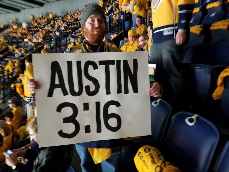 Nashville Preds fan Brian Binkley makes a tongue-in-cheek reference to the team's unruly persona before a playoff game at Bridgestone Arena.