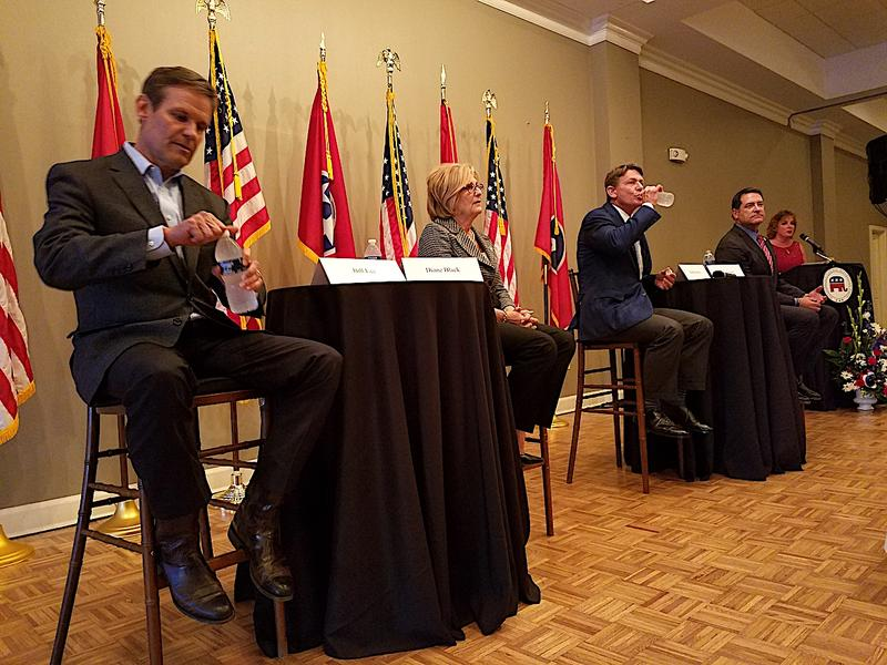 Franklin businessman Bill Lee, Congressman Diane Black, Knoxville businessman Randy Boyd and Clarksville Senator Mark Green prepare for a candidates' forum at the Stones River Country Club in Murfreesboro.