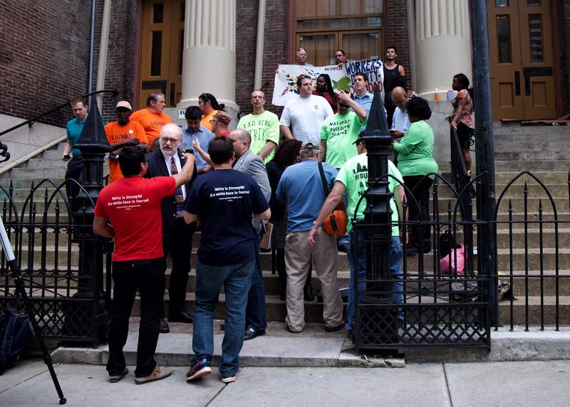 Workers' Dignity, Stand Up Nashville coalition, Council Member Anthony Davis, Council Member Fabian Bedne and local construction workers gather for a press conference outside Downtown Presbyterian Church in Nashville.