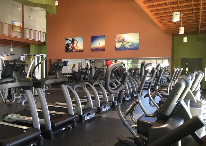 Treadmills and elliptical machines are lined up in a new fitness center for Metro Schools employees and their families.