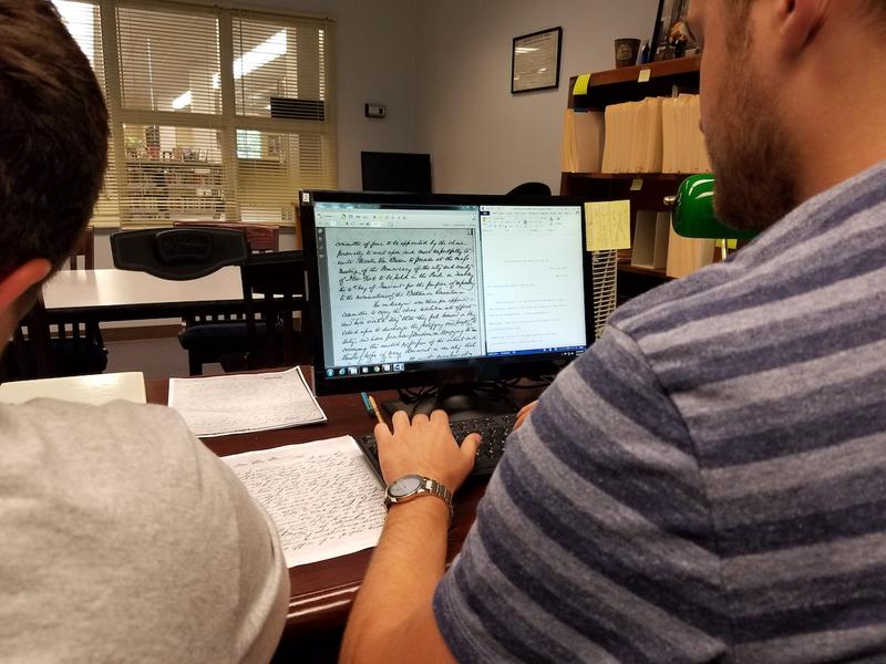 Cumberland University student David Gregory transcribes an 1844 letter sent to Martin Van Buren — one of about 13,000 documents contained in an archive of the former president's papers.