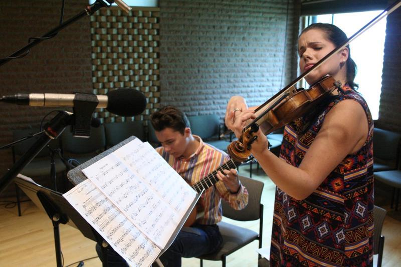 Siblings Chloe and Nolan Harvel perform in Studio C.