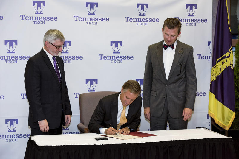 Governor Bill Haslam signed the Focus Act at Tennessee Tech. The law gave independence to six Board of Regents schools, including TTU.