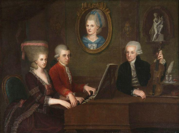 "Wolfgang Amadeus Mozart pictured with his father Leopold and sister ""Nannerl,"" with a portrait of his deceased mother Anna Maria on the wall. Portrait by Johann Nepomuk della Croce, ca. 1780."