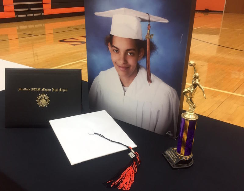 Following her death, Vastoria Lucas' senior photo and high school diploma were displayed at an event at Stratford High School.