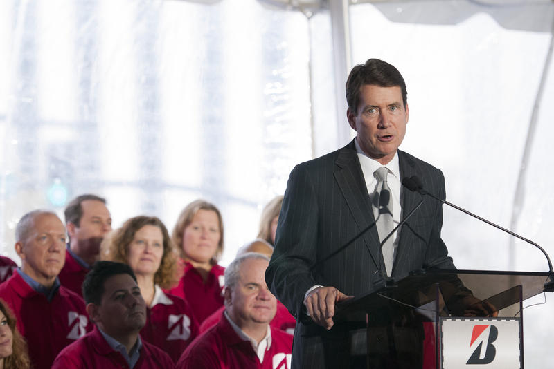 Bill Hagerty speaks at groundbreaking of Bridgestone Americas new headquarters in downtown Nashville. As Tennessee's economic development commissioner, he worked closely with several big Japanese firms.