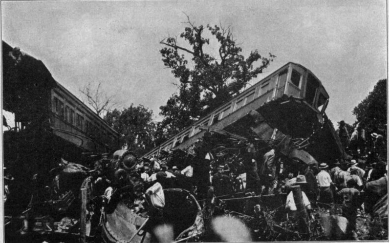 Some of the cars were piled up after derailing.