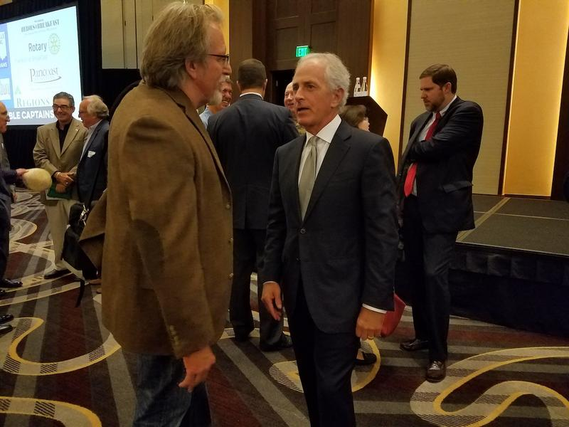 Tennessee Sen. Bob Corker, right, has drawn fire both for standing by President Trump during previous controversies — and for criticizing him after his remarks on the violent protests in Charlottesville, Va.