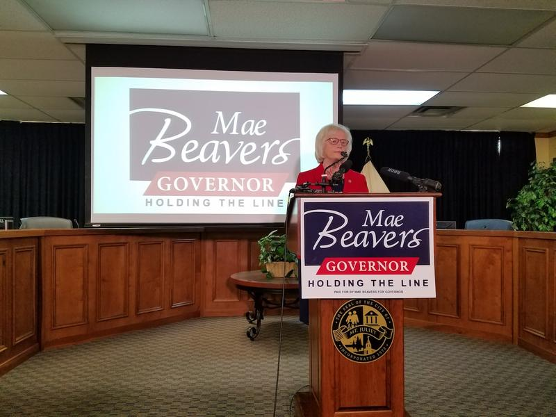 Mae Beavers announced in August that she would give up her Senate seat to campaign full-time for governor.