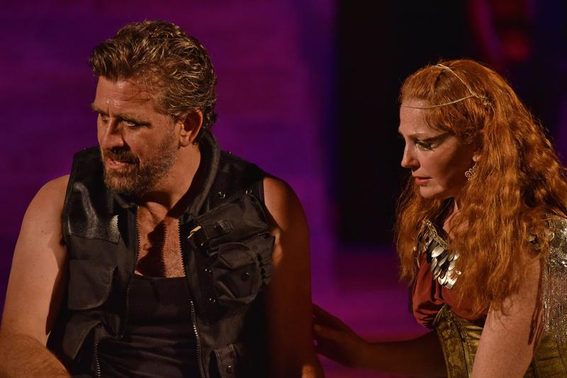 Patrick Ryan Sullivan as Marc Antony, with Carrie Brewer as Cleopatra. Director David Ian Lee says his production takes place in an invented world and is not meant to be historically accurate.