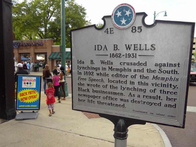 A marker in Memphis commemorates Ida B. Wells, a pioneering investigative journalist and victim of racist violence.