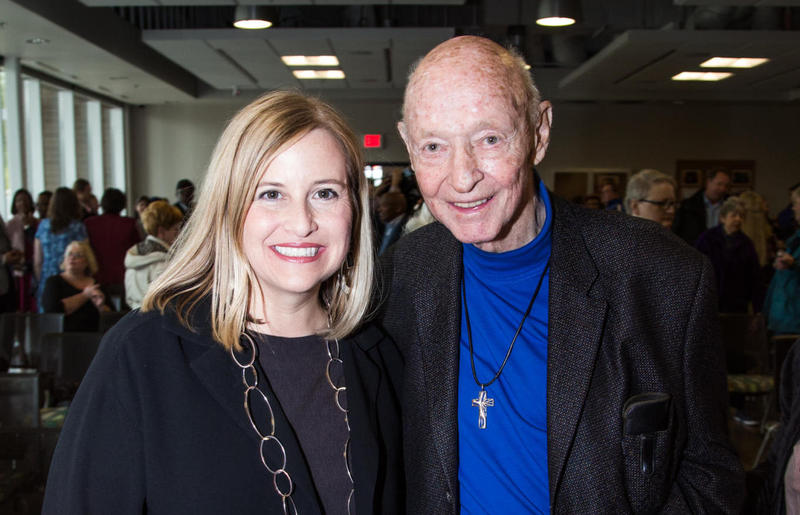 Nashville Mayor Megan Barry poses for a photo with Rev. Bill Barnes in 2016 when the city upped its commitment to the Barnes Housing Fund.