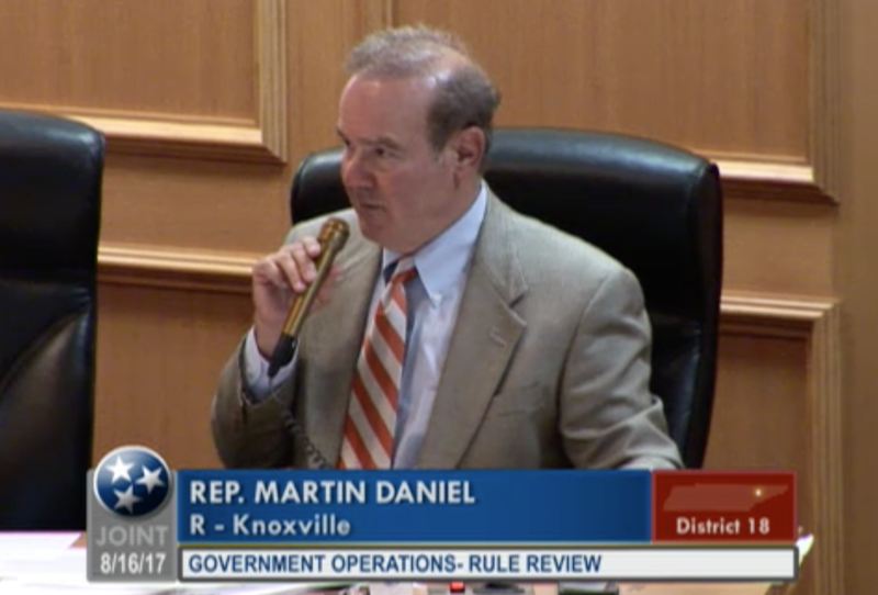 Rep. Martin Daniel, R-Knoxville, criticized the new UT student code of conduct at a committee hearing.