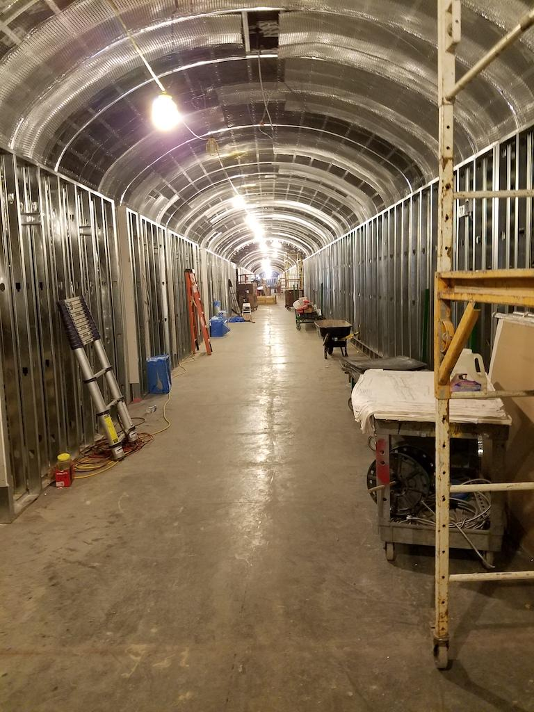 The tunnel stretches 400 feet. The arched ceilings support the weight of Capitol Hill, which sits above it.