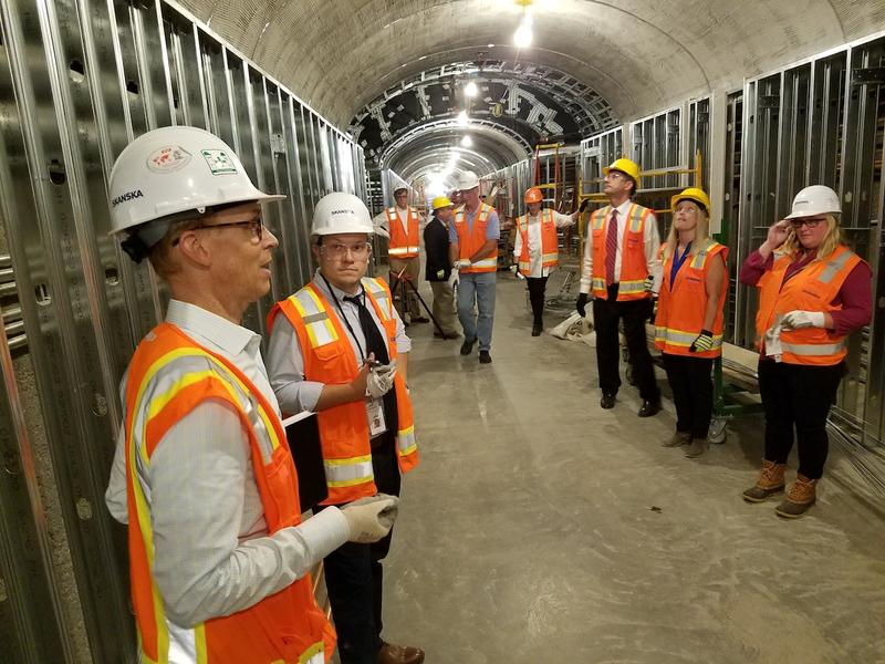 Architect David Plummer guides reporters on a tour of the tunnel that connects Cordell Hull to the State Capitol.