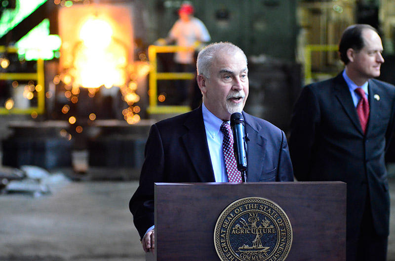 Charlie Foust, who owns Clarksville Foundry, spoke at the signing of legislation overhauling Tennessee's workers comp laws.