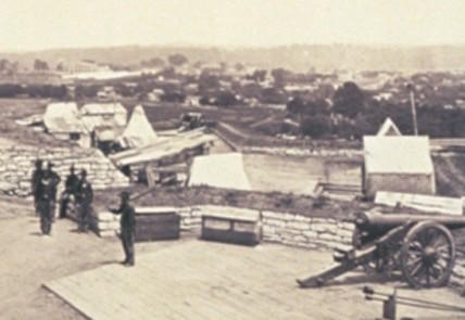 Soldiers at their stations in Ft Negley in 1864.