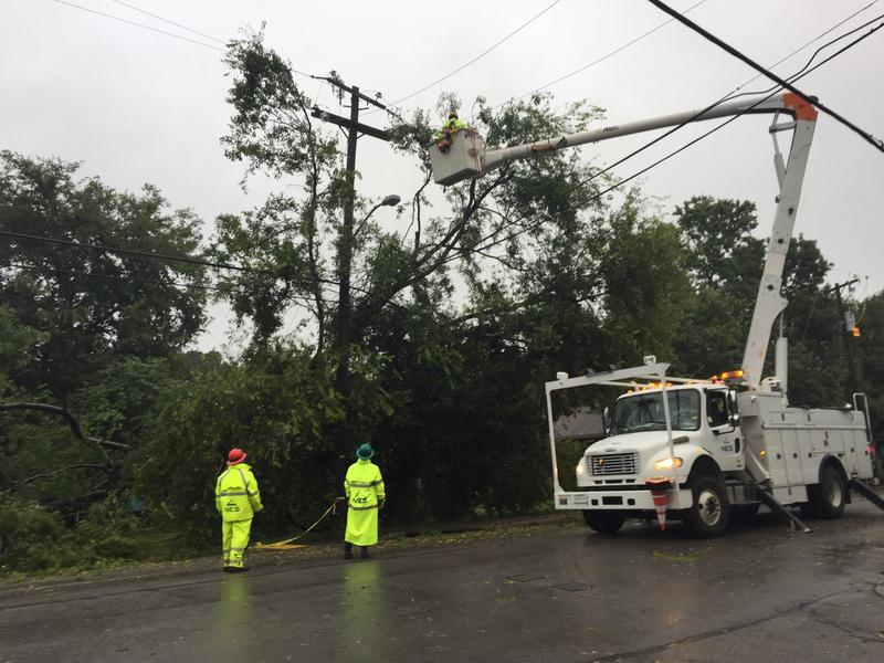 Nashville Electric Service crews worked through the night repairing power lines and broken poles.