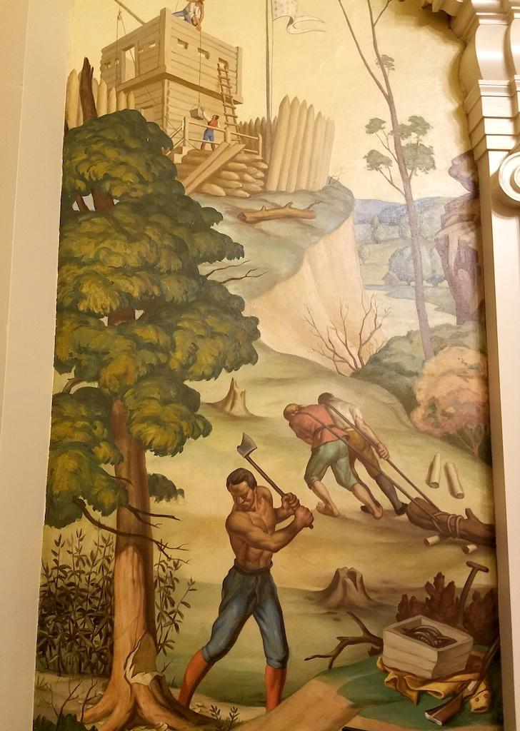 A panel shows construction of Fort Prud'homme near present-day Memphis.