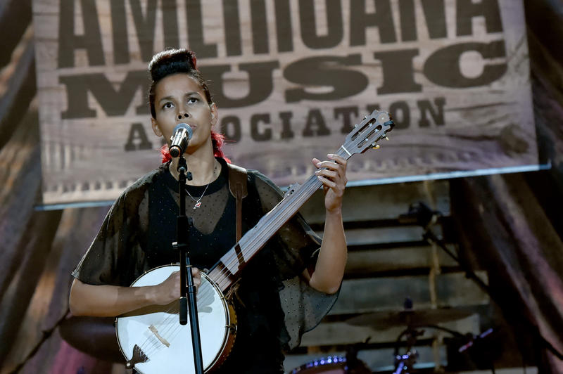 Rhiannon Giddens performs a song from her latest album at the 2017 Americana Music Awards.
