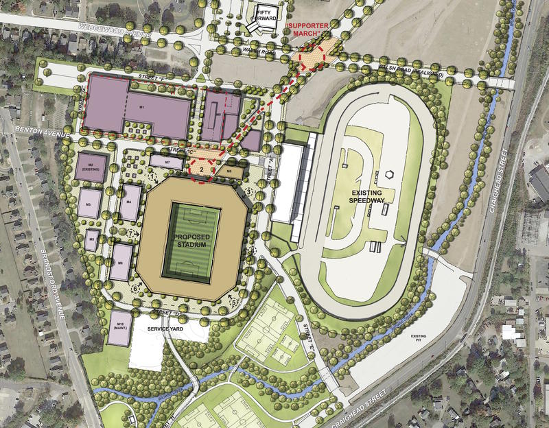 The stadium proposal still allows for the racetrack to remain on the fairgrounds site, but the site plan has not been finalized.