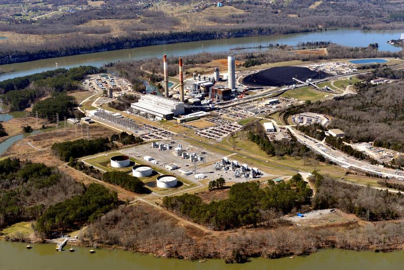 This is an aerial view of the Gallatin Fossil Plant site, where much of the property is already used for ash storage.