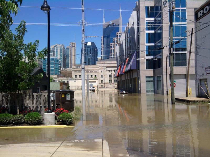 Flood water from the swollen Cumberland River rose beyond the Encore building in May of 2010.
